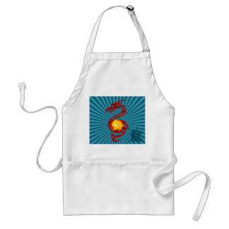 Chinese Year of the Dragon Metalic Red Adult Apron