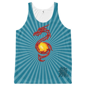 Chinese Year of the Dragon Metalic Red All-Over-Print Tank Top