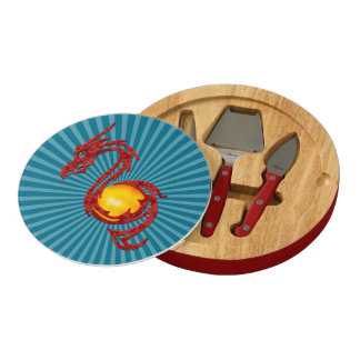 Chinese Year of the Dragon Metalic Red Cheese Board