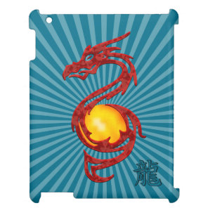Chinese Year of the Dragon Metalic Red Cover For The iPad 2 3 4