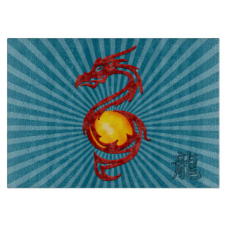 Chinese Year of the Dragon Metalic Red Cutting Board