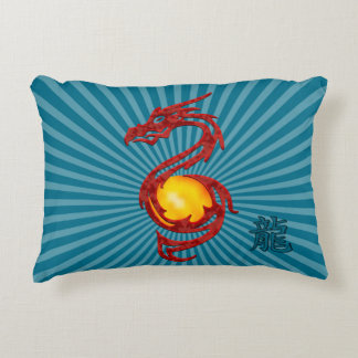 Chinese Year of the Dragon Metalic Red Decorative Pillow