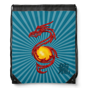 Chinese Year of the Dragon Metalic Red Drawstring Bag