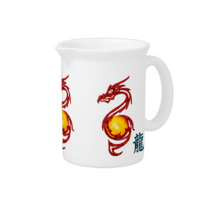 Chinese Year of the Dragon Metalic Red Drink Pitcher