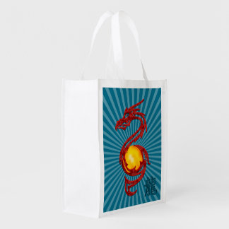 Chinese Year of the Dragon Metalic Red Grocery Bag