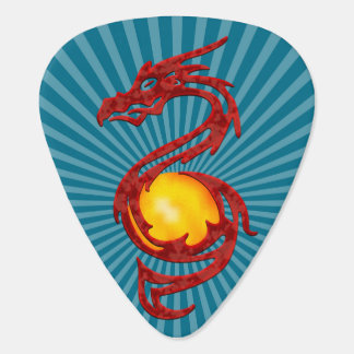 Chinese Year of the Dragon Metalic Red Guitar Pick