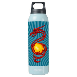 Chinese Year of the Dragon Metalic Red Insulated Water Bottle