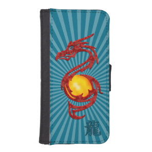 Chinese Year of the Dragon Metalic Red iPhone SE/5/5s Wallet Case