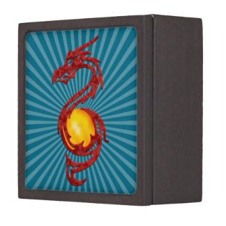 Chinese Year of the Dragon Metalic Red Jewelry Box