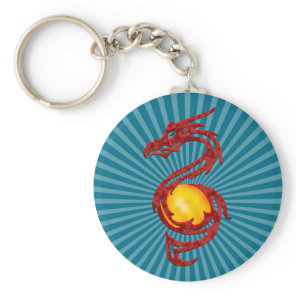 Chinese Year of the Dragon Metalic Red Keychain