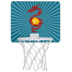 Chinese Year of the Dragon Metalic Red Mini Basketball Hoop