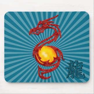 Chinese Year of the Dragon Metalic Red Mouse Pad