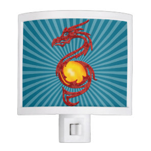 Chinese Year of the Dragon Metalic Red Night Light