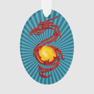 Chinese Year of the Dragon Metalic Red Ornament