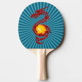 Chinese Year of the Dragon Metalic Red Ping-Pong Paddle