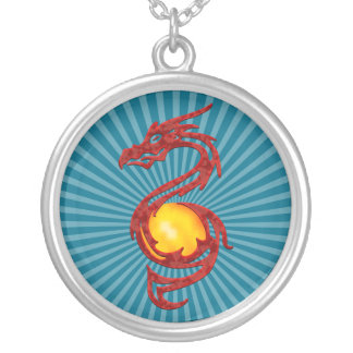 Chinese Year of the Dragon Metalic Red Round Pendant Necklace