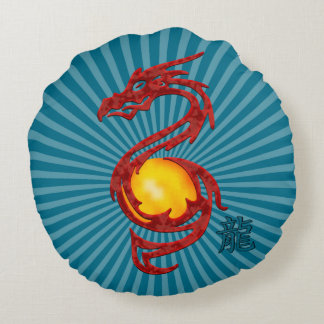 Chinese Year of the Dragon Metalic Red Round Pillow