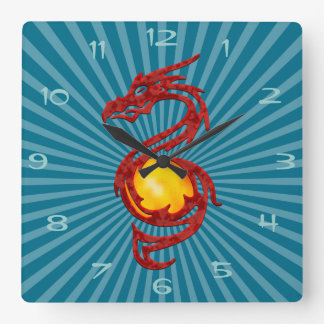 Chinese Year of the Dragon Metalic Red Square Wall Clock