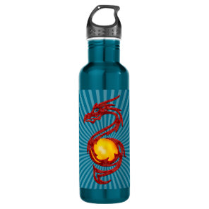 Chinese Year of the Dragon Metalic Red Stainless Steel Water Bottle