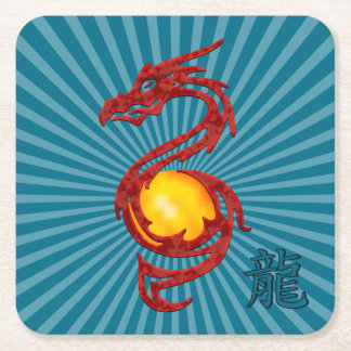 Chinese Year of the Dragon Metalic Red Square Paper Coaster