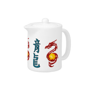 Chinese Year of the Dragon Metalic Red Teapot