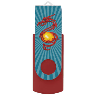 Chinese Year of the Dragon Metalic Red USB Flash Drive
