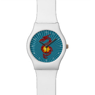 Chinese Year of the Dragon Metalic Red Wrist Watches