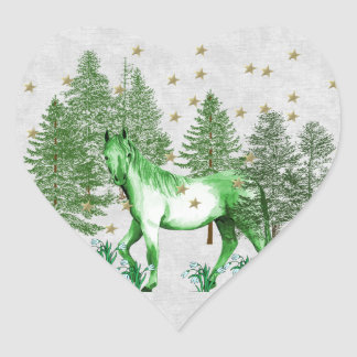 Chinese Year Of The Green Horse Heart Sticker
