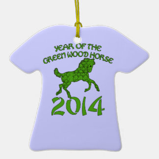 Chinese Year of the Green Wood Horse Double-Sided T-Shirt Ceramic Christmas Ornament