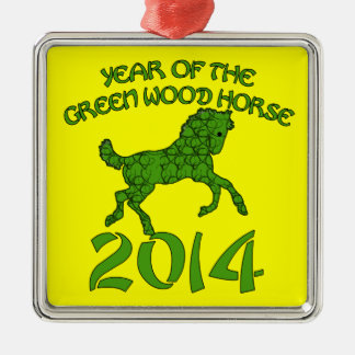 Chinese Year of the Green Wood Horse Square Metal Christmas Ornament
