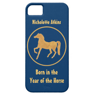 Chinese Year of the Horse: Gold-effect on Deep Blu iPhone SE/5/5s Case