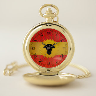 Chinese Year of the Ox with Roman Numerals Pocket Watch