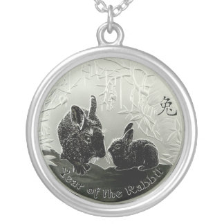 Chinese Year of the Rabbit Round Pendant Necklace