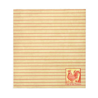 Chinese Year of the Rooster Chicken Red Lined Notepad