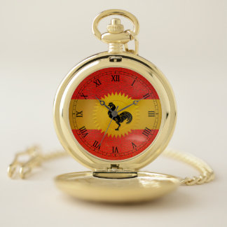 Chinese Year of the Rooster with Roman Numerals Pocket Watch