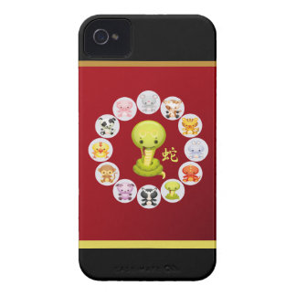 Chinese Year of the Snake 2013 Round Red and Gold iPhone 4 Case-Mate Case