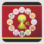 Chinese Year of the Snake 2013 Round Red and Gold Stickers