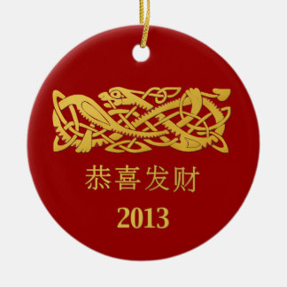 Chinese Year Of The Snake Hanging Decoration Double-Sided Ceramic Round Christmas Ornament