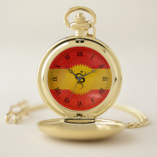 Chinese Year of the Snake with Roman Numerals Pocket Watch