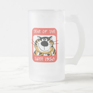 Chinese Year of The Tiger 1950 Gift Frosted Glass Beer Mug
