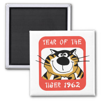 Chinese Year of The Tiger 1962 Gift 2 Inch Square Magnet