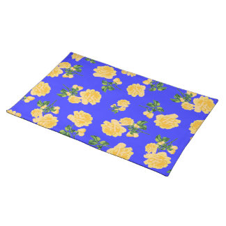 Chinese Yellow roses on blue cloth placemat