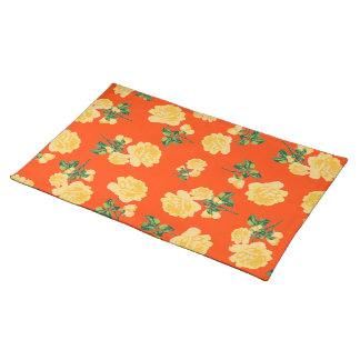 Chinese Yellow roses on red cloth placemat