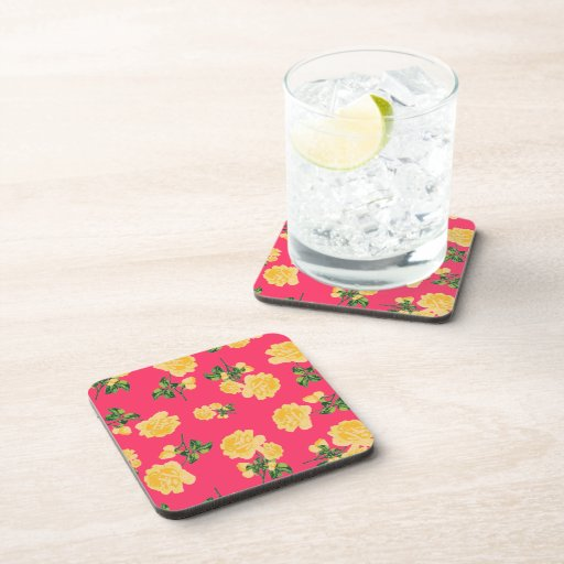 Chinese Yellow roses on red cork coasters