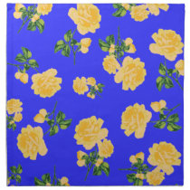 Chinese yellow roses pattern blue cloth napkins
