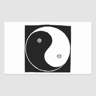 Chinese Yin Yang Symbol Rectangular Sticker