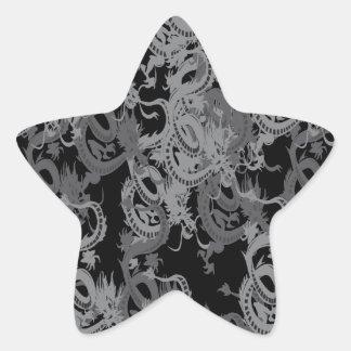 Chinese Ying Yang Dragon Star Sticker