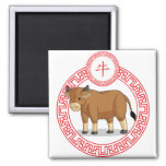 Chinese Zodiac Animal - Ox 2 Inch Square Magnet