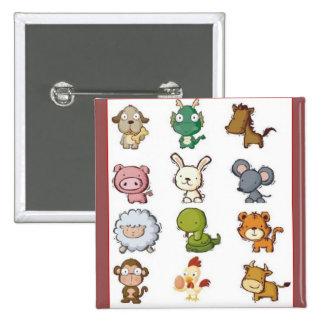 Chinese Zodiac Animals Pinback Button