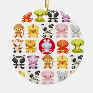 Chinese Zodiac Animals Year of the Rabbit Christmas Ornaments
